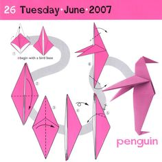 fácil crianças simples Looking for something fun and easy to make? Looking for something fun and easy to make? Easy Origami Animals, Origami Penguin, Useful Origami, Origami Easy, Origami Insects, Origami Birds, Origami Dove, Origami Box Tutorial, Penguin Drawing