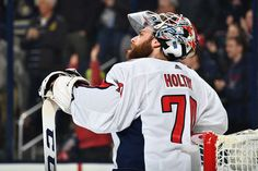 COLUMBUS, OH - FEBRUARY 6: Goaltender Braden Holtby #70 of the Washington Capitals watches the replay after letting in a goal during the first period of a game against the Columbus Blue Jackets on February 6, 2018 at Nationwide Arena in Columbus, Ohio. (Photo by Jamie Sabau/NHLI via Getty Images)