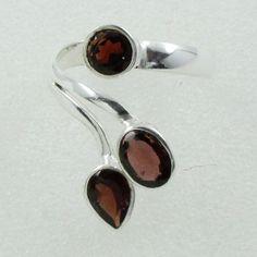 Garnet Stone Unique Design 925 Sterling Silver Ring by JaipurSilverIndia on Etsy