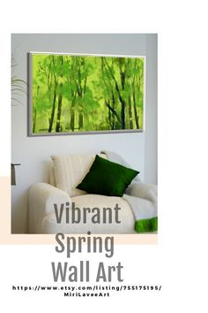 This gorgeous green forest painting is a glimpse of nature's beauty, its magical tranquility, and prosperity - in your home. It is an optimistic and relaxing piece. The springtime and the green color stand for renewal and revival.    #MiriLavee  #painting  #artforthehome #oilpainting #treewallart #treepainting #livingroomart #artforsale #Etsy #colorful #naturepainting #livingroomart #forestwallart #greenart