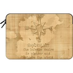"Macbook Sleeve - ""Wanderlust"" Text Typography Traveling Quote on... ($60) ❤ liked on Polyvore featuring accessories, tech accessories and macbook sleeve"
