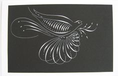 Bird flourished card. 051314B by VillageGreenArts on Etsy, $8.00