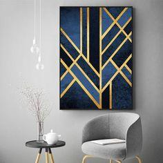 Abstract Linear Art Deco Wall Art Gold Blue Geometric Nordic Design Canvas Prints – NordicWallArt.com