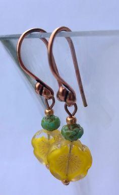 Lemon Blooms in the Summer Sun Summer Sun, Designer Earrings, Lemon, Bloom, Drop Earrings, Beads, Handmade, Jewelry, Style