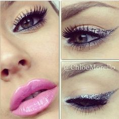 #Makeup Tip: Add a swoosh of glitter eyeliner with baby pink lips for an ice hot look!
