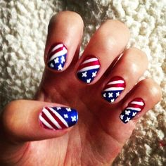 4th of July nails, because America.