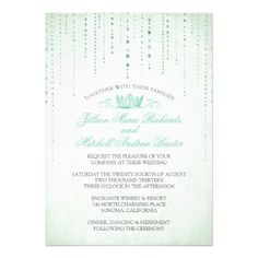 Sparkles & Crown Fairytale Wedding Invitation