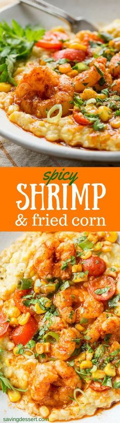 #sponsored #ad Spicy Shrimp & Fried Corn ~ A fresh and tasty twist on classic shrimp and grits! Creamy, sweet fried corn is topped with spicy shrimp, garden fresh tomatoes and green onions for a delicious bowl of healthy comfort food!
