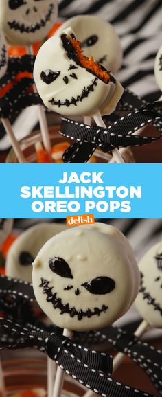 Oreo Pops Nightmare Before Christmas fans: you're going to flip over these Jack Skellington Oreo Pops. Get the recipe at .Nightmare Before Christmas fans: you're going to flip over these Jack Skellington Oreo Pops. Get the recipe at . Halloween Snacks, Hallowen Food, Dulces Halloween, Postres Halloween, Halloween Oreos, Dessert Halloween, Halloween Goodies, Halloween Cupcakes, Holidays Halloween
