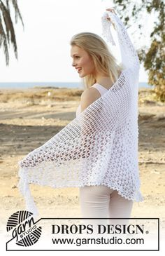 Summer Princess / DROPS 148-6 - Crochet DROPS shawl with lace pattern in Safran.