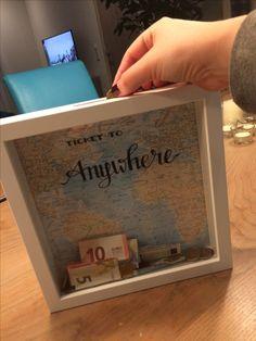 Travel quote fund savings shadow box DIY ikea Ribba frame
