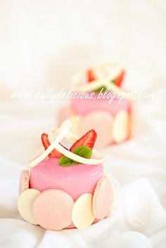 Strawberry and white chocolate mousse entremets