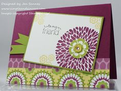 Stamps: Betsy's Blossoms, Friendly Phrases  Paper: Rich Razzleberry, Lukcy Limeade, Whisper White, Floral District dsp  Ink: Rich Razzleberry, Lucky Limeade, So Saffron, Basic Black  Accessories: Itty Bitty Punch Pack, Basic Rhinestones