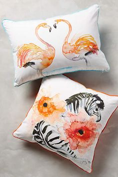 Watercolor Zoology Pillow - anthropologie.com