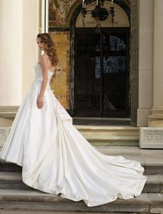 ❀ Strap Pleating Chapel Train Satin Wedding Dresses | Riccol ❤