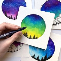 Hey everyone! Its Jen ( and I'm super excited to be taking over the account today! I'm an artist, illustrator, and… Brush Pen Art, Watercolor Brush Pen, Watercolor Paintings, Galaxy Painting, Galaxy Art, The Joy Of Painting, Watercolor Projects, Marker Art, Tombow Usa