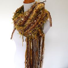 Chunky Knit Scarf - Hand Knit Scarf - Hand Tied Imported Yarns Green Gold and…
