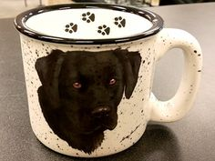 Black Lab Trail Mug with Paw Prints Rustic Mugs, Paw Prints, Lab, Trail, Tableware, Dinnerware, Dishes, Labs