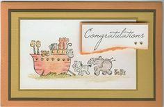 Noah's Ark 4277E, congratulations 4342D: Stamp-it Australia. Card by Susan of Art Attic Studio