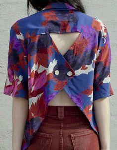 Camisa con espalda abierta y botones Fashion Details, Diy Fashion, Fashion Beauty, Fashion Design, Womens Fashion, Cut Work, Back Details, Diy Vestidos, Diy Shirt