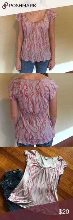 Cute Nautical Top Grey and pink flowy nautical top from Banana Republic. Perfect for business casual wear or a date. Looks great with dark jeans and heels. Only worn a handful of times. Banana Republic Tops Blouses
