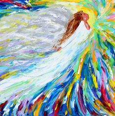 Angel Rising painting original oil abstract palette knife impressionism on canvas fine art by Karen Tarlton Oil Painting Abstract, Figure Painting, Knife Painting, Angel Art, Angel Paintings, Original Paintings, Spiritual Images, Modern Impressionism, Fine Art Gallery