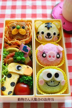 yaraben or charaben , a shortened form of character bento , is a style of elaborately arranged bento which features food decorated to look like people, characters from popular media, animals, and plants. Japanese homemakers often spend time devising their families' meals, including their boxed lunches. Originally, a decorated bento was intended to interest children in their food and to encourage a wider range of eating habits.