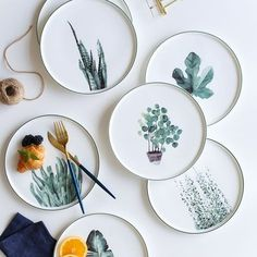 Botanical Dinner Plate from Apollo Box prod.- Botanical Dinner Plate from Apollo Box product image for Botanical Dinner Plate Ceramic Plates, Ceramic Pottery, Decorative Plates, Pottery Plates, Clay Plates, Painted Pottery, Painted Plates, Hand Painted, Ceramic Painting