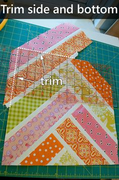Broken Herringbone quilt block tutorial - lovely! Deviously complicated, but great result....(I'm not sure it is so complicated... two strips with white strip between...cut at 45 angle... sew white strip across top.  Cut two-strips again at another 45 (longer), sew at 90 angle to first strips... another white strip and so on... ?)