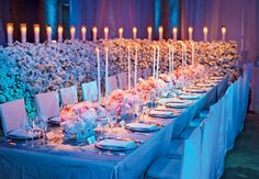 Long reception tables were covered with a light gray cloth and finished with tall candles and rose and peony centerpieces to work in their pink, white, silver and gray palette. from the album: An Enchanted Urban Wedding in New York, NY Long Table Wedding, Mod Wedding, Free Wedding, Wedding Ideas, Wedding Stuff, Galaxy Wedding, Wedding Inspiration, Wedding Things, Wedding Colors