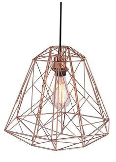 Lámpara geométrica jaula color cobre. Con bombilla de filamento. www.luzdeco.es