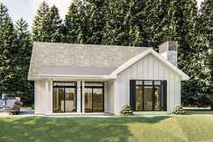 Board and batten siding a a front porch accessible from both the kitchen and dining room welcome you to the front of this modern farmhouse cottage house plan.Inside a large family room with cathedral Small Lake Houses, Small Cottage Homes, Small Cottages, Modern Cottage, Cozy Cottage, Small Cabins, Cottages And Bungalows, Cottage Farmhouse, Guest House Plans