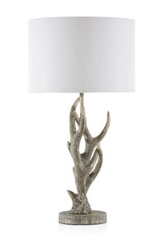 Buy Antler Grey Washed Table Lamp With Shade from the Next UK online shop Fern Living, Antler Lamp, Mountain Decor, Scottish Fashion, St Margaret, Bedside Table Lamps, Light Table, Boy Room, Antlers
