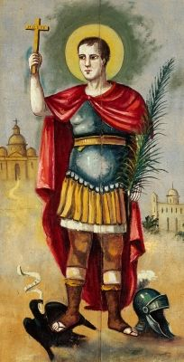 Saint Expeditus of Melitene - Feast Day, April 19. Painting by an unkown artist in Palermo, Italy. Patron for expeditious solutions and against procrastination.