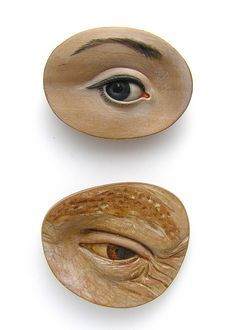 brooches by Julia Harrison. Reminds me of the Magritte painting of a slice of ham with an eye in the center. So cool.