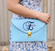 Monogrammed and Embroidered Messenger Clutch in by Justgetpampered