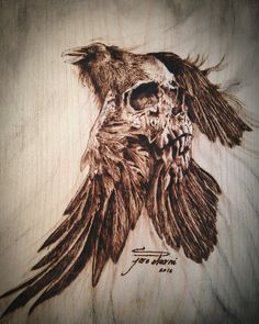 Stunning raven and skull pyrography Rabe Tattoo, 4 Tattoo, Norse Tattoo, Viking Tattoos, Deer Tattoo, Samoan Tattoo, Polynesian Tattoos, Skull Rose Tattoos, Body Art Tattoos