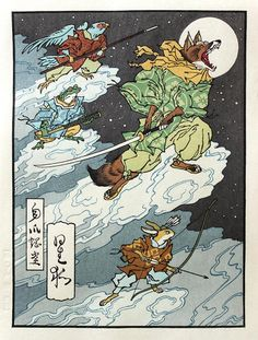 "Fox Moon, in homage to the Nintendo game Star Fox. For decades, Japanese woodcut printers have merely copied old masters for tourists. ""There have been no new, fresh ukiyo-e designs,"" says David Bull, who has spent the last 30 years mastering the traditional technique. Now, thanks to the video game-woodblock hybrid imagery of Jed Henry, a 29-year-old illustrator in Utah, ""young people all around the world ... are writing"" to ask about woodprints. (5 of 5 images) Caption at link"