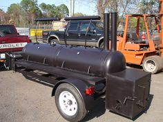 Custom made Model 240 BBQ Smoker on trailer. Built by M & R Specialty Trailers and Trucks in Macclenny FL.