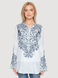 Twesten Blouse The BIYA TWESTEN BLOUSE embodies bohemian-chic! This embroidered tunic top is cut in luxe silk adorned by an intricate embroidery design in rich blue, green, grey, and white hues.