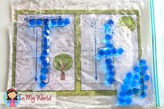 Alphabet Play Dough Mats Sensory Writing: fill a snap-lock bag with hair gel and some gel beads and get those fine motor muscles working!