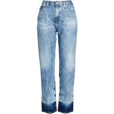 Adriano Goldschmied Distressed High Waisted Jeans ($275) ❤ liked on Polyvore featuring jeans, blue, distressing jeans, faded ripped jeans, ripped jeans, blue jeans and high-waisted jeans