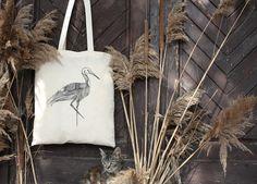 Stork Canvas Tote Bag - Stork with mask canvas tote bag - forest bird - animal bag - woodland tote bag -