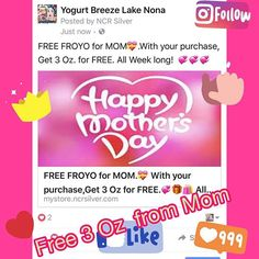 FREE Froyo For Mom, With your purchase Get 3 Oz for Free 💝All week long! 💞💞💞Repost Us & like Us #yogurtbreeze #mothersday #mothersdayweekend #mothersdaygift #localstore #localbusiness #froyo #froyotime #allweeklong #freefroyo