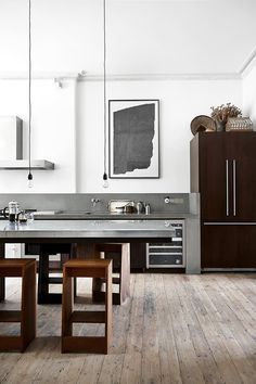 Old London Townhouse With A Modern/Industrial Kitchen Renovation Kitchen Interior, House Design, Kitchen Space, Interior, Home, Kitchen Remodel, House Interior, Home Kitchens, Kitchen Design
