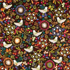 Michael Miller Birds of Norway Espresso ---I love the folksy-feel of this it's so 1960s/Beatles/Woodstock