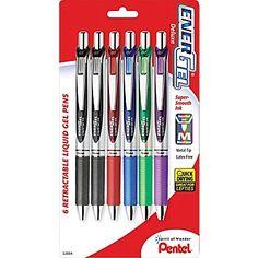 Pentel® EnerGel® RTX Retractable Gel Pens, Medium, Assorted Ink Colors, 6/Pack