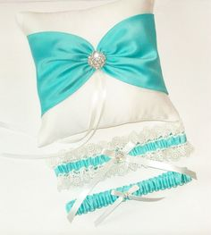 Tiffany Blue Wedding Ring Pillow and Garter Set - The ANISLEY Pillow and ALLIE Garter. $75.00, via Etsy.