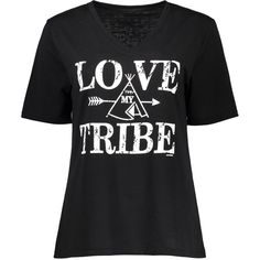 Love Tribe Graphic V Neck Tee ($11) ❤ liked on Polyvore featuring tops, t-shirts, v neck graphic t shirts, graphic design t shirts, tribal design t shirts, tribal top and v-neck tee
