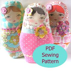 Doll Patterns to Sew | PDF Sewing Pattern - Matryoshka Doll with Flower Embellishments Sewing ...